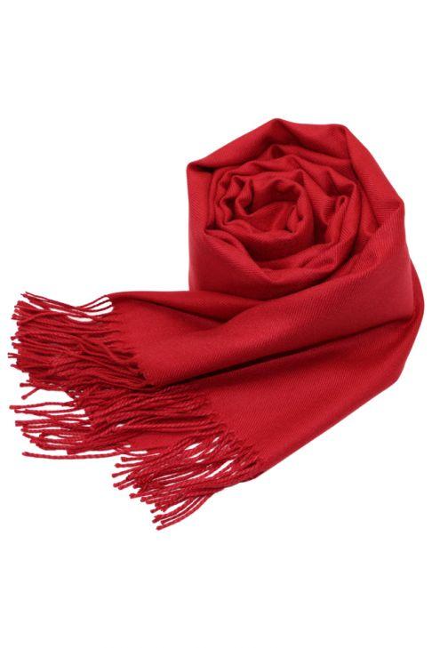 Esarfa pentru femei, din casmir, subtire, sezon toamna primavara, cu franjuri, rosu . ZS-22-6