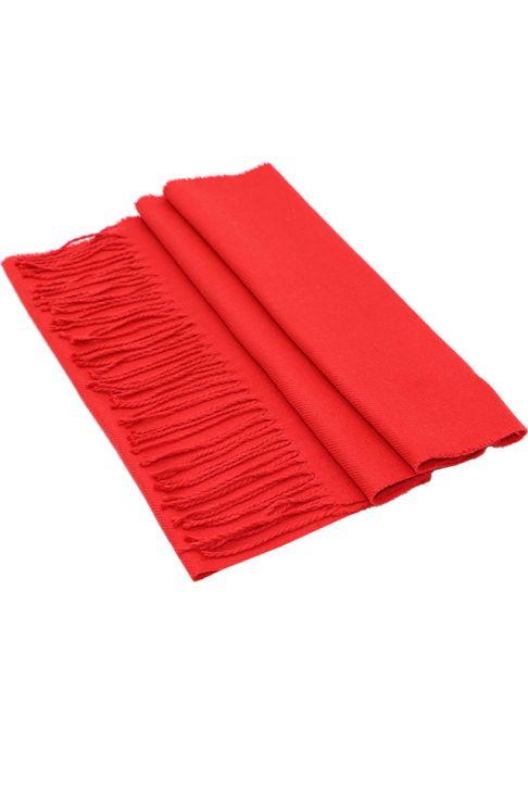 Fular pentru femei, din casmir, subtire, sezon toamna primavara, cu franjuri, rosu . ZS14-13