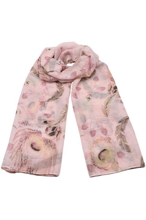 Esarfa pentru femei, din polyester subtire, primavara toamna, cu print pene de paun, Li001 Roz