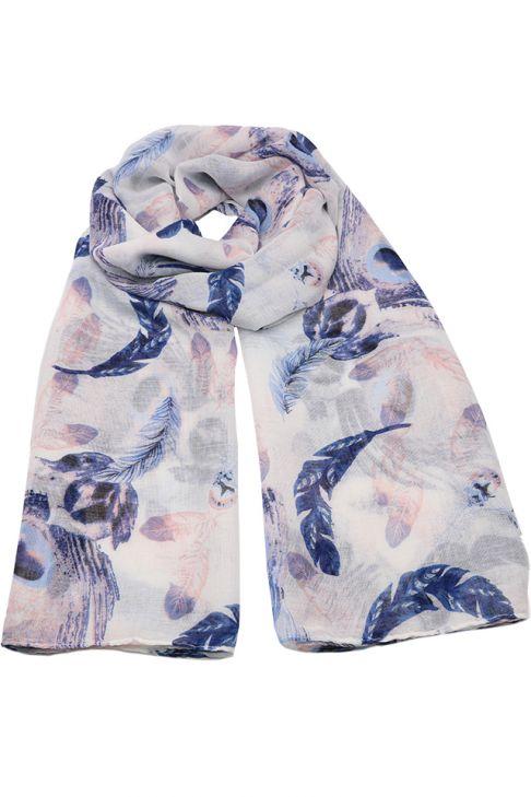 Esarfa pentru femei, din polyester subtire, primavara toamna, cu print pene de paun, Li001 Albastru-roz