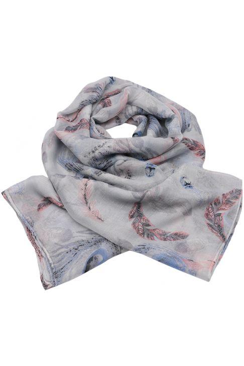 Esarfa pentru femei, din polyester subtire, primavara toamna, cu print pene de paun, Li001 Blue-roz