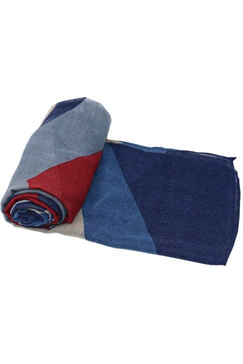 Esarfa pentru femei, din polyester subtire, primavara toamna, albastru roz cu print color block