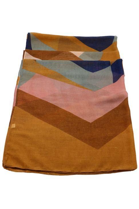 Esarfa pentru femei, din polyester subtire, primavara toamna, maro roz cu print color block