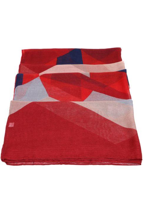 Esarfa pentru femei, din polyester subtire, primavara toamna, rosu cu print color block
