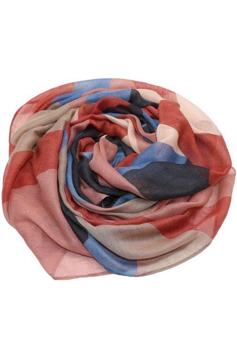 Esarfa pentru femei, din polyester subtire, primavara toamna, roz coral cu print color block, Li002-7