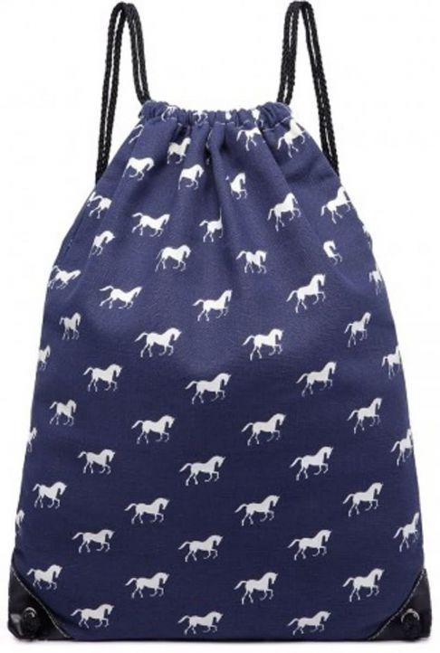 Rucsac din textil, print cu cai, cu snur, albastru E1406H NY