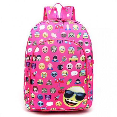 Rucsac pentru copii, emoticon, roz, cu penar si portofel E6629-1 PM