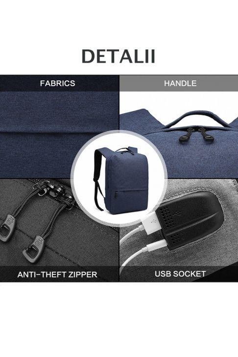 Rucsac smart cu port USB, rezistent la apa, albastru inchis, Bruxelles