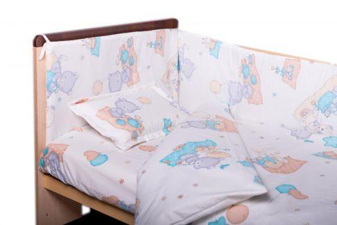 Garnitură de pat completă Amoraș 7 piese / Ursulet cu prieteni, turcoaz