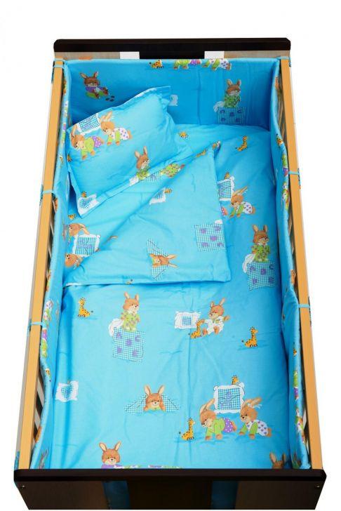 Garnitură de pat completă Amoraș 7 piese / Iepurași bleu