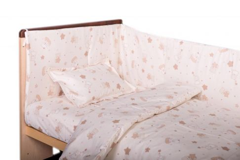 Garnitură de pat completă Amoraș 7 piese / Pisicuțe crem
