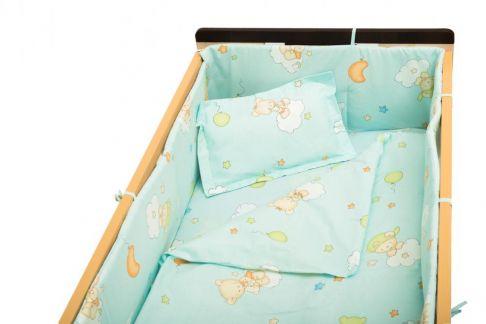 Garnitură de pat completă Amoraș 7 piese / Ursuleți cu balonașe bleu 130 x 70 cm