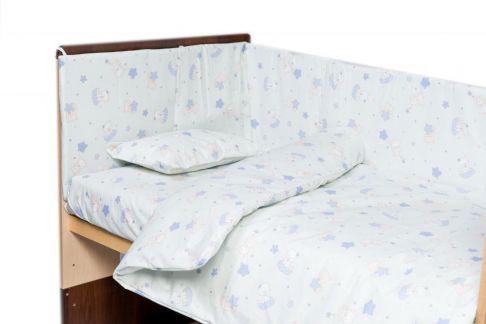 Garnitură de pat completă Amoraș 7 piese / Pisicuțe bleu
