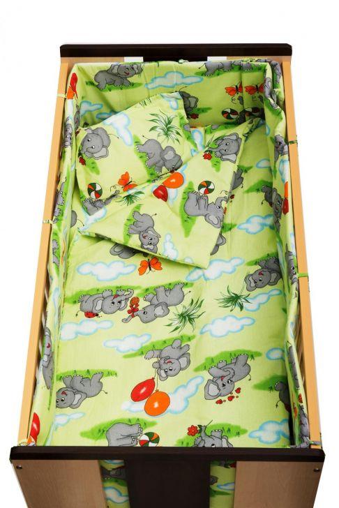 Garnitură completă Nani cu protecții laterale, 6 piese, elefănței verzi