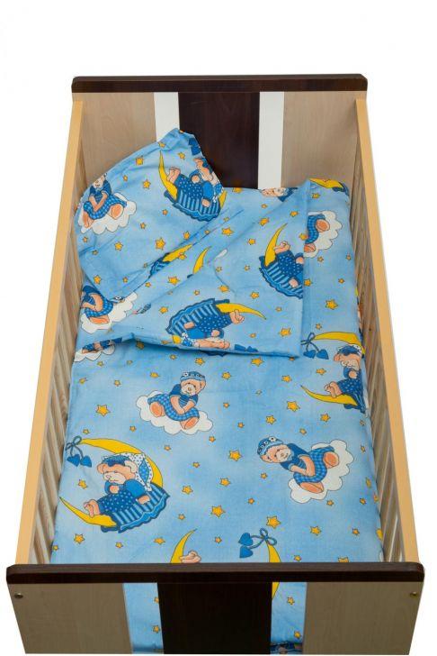 Set de pat Nani cu pilotă, 4 piese, ursuleț cu lună, albastru