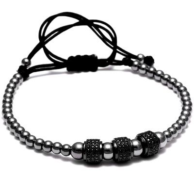 All Black Brooks Men Zircon Bracelet