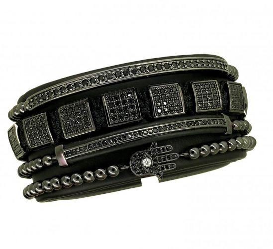 All Black Grandmaster Set Brooks Bracelets
