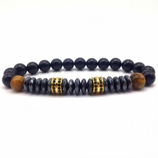 Black Natural Stone Agate Gold Charms