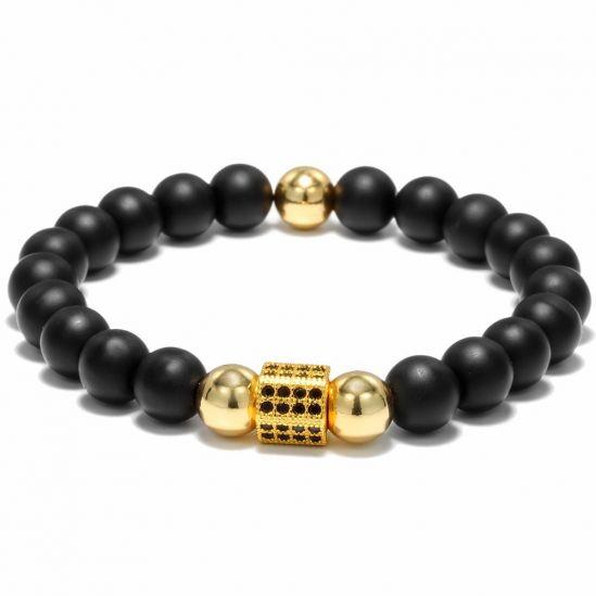 Black Natural Stone Agate Gold Charm