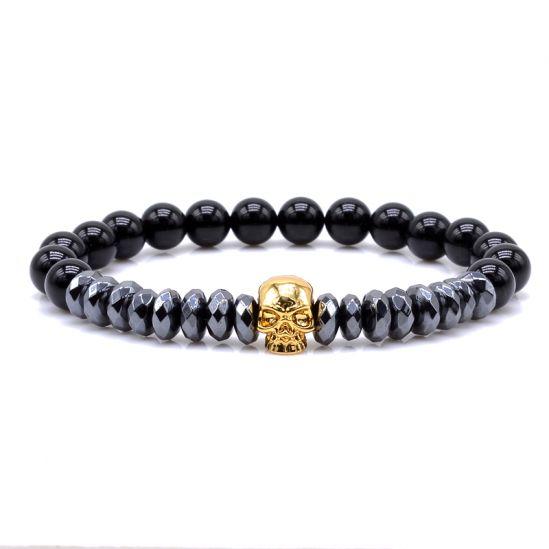 Gold Skull Agate Men Bracelet