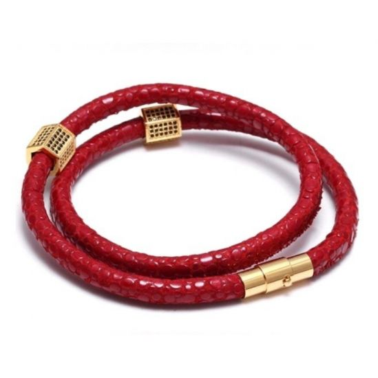 Brooks Double Red Strap Woman Bracelet