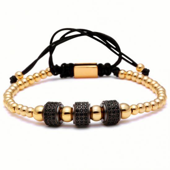 Brooks Black Zircon Gold Bracelet