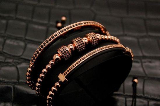 Luxury Set 3 Rose Gold Men Brooks Bracelets