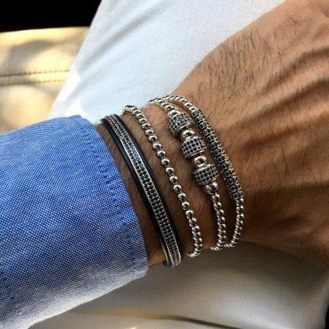 Luxury Set 4 Brooks Silver Bracelets