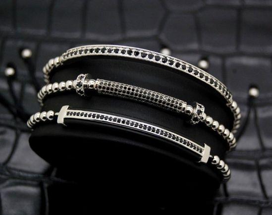 Luxury Set 3 Liniar Silver Brooks Bracelets