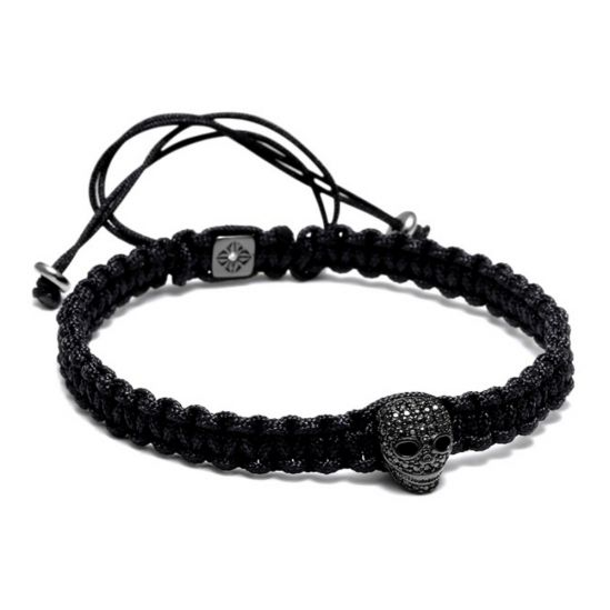 All Black Skull Macrame Bracelet