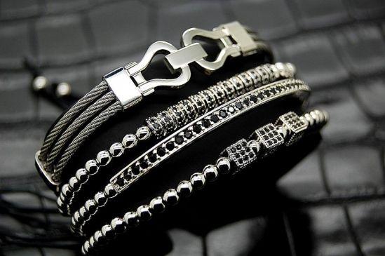 Luxury Set 4 Brooks Zircon Bracelets