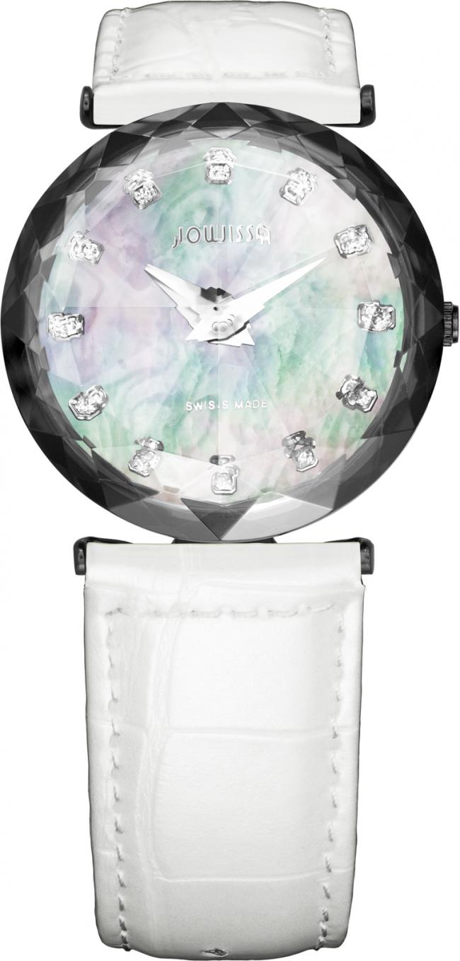 Ceas dama Magic Sapphire cu carcasa din otel inoxidabil 29mm, curea din piele, mecanism Ronda 762, rezistent la apa 3 ATM