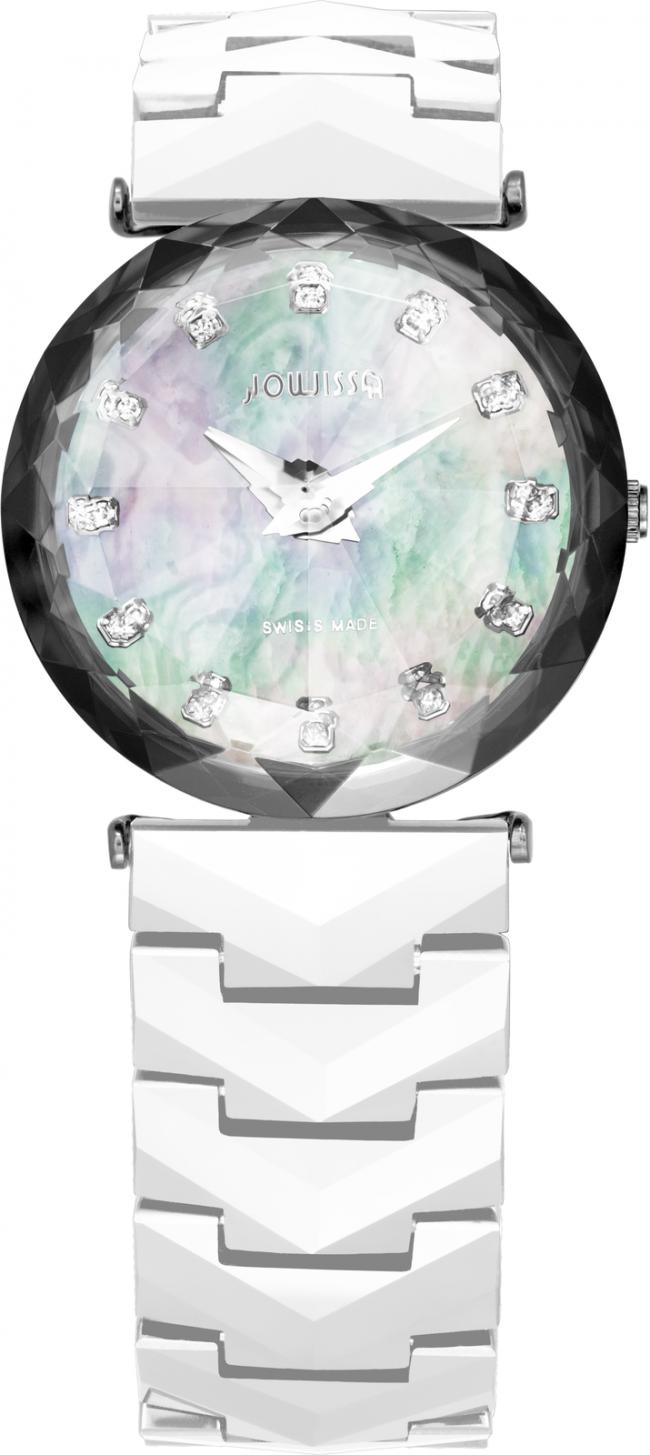 Ceas dama Magic Sapphire cu carcasa din otel inoxidabil 29mm, curea din satin, mecanism Ronda 762, rezistent la apa 3 ATM