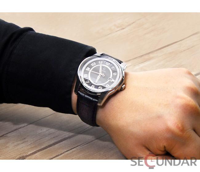Ceas Bulova 96B127 Claremont Black Dial Leather Strap Quartz Barbatesc