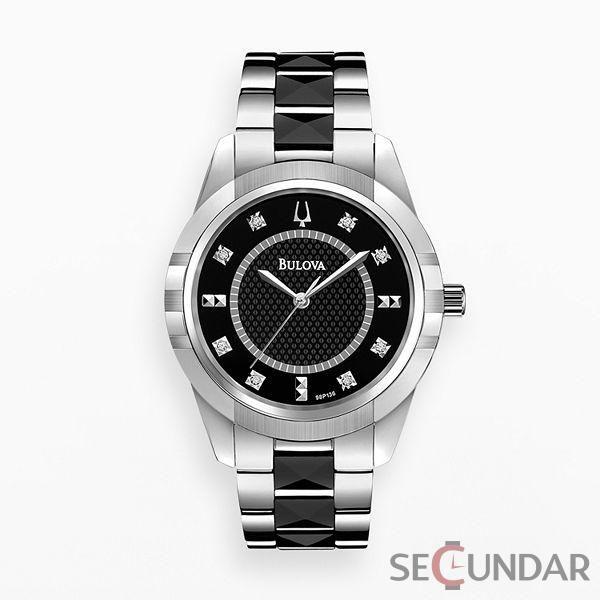 Ceas Bulova Diamonds 98P136 Silver Black de Dama