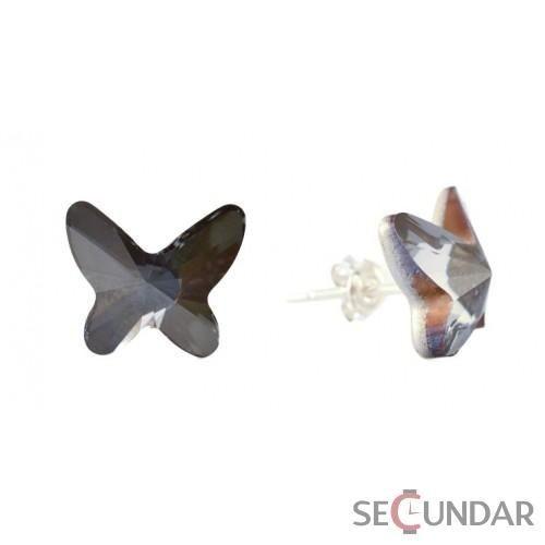 Cercei Argint 925 cu SWAROVSKI ELEMENTS Butterfly 12mm Silver Night