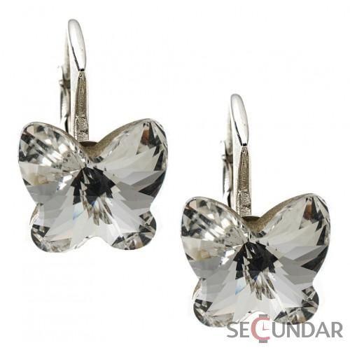 Cercei Argint 925 cu SWAROVSKI ELEMENTS Butterfly Fancy 10 mm Crystal Clear