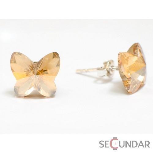 Cercei Argint 925 cu SWAROVSKI ELEMENTS Butterfly Fancy 10 mm Golden Shadow