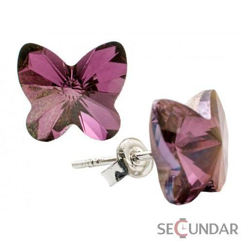 Cercei Argint 925 cu SWAROVSKI ELEMENTS Butterfly Fancy 10 mm Liliac Shadow