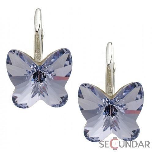 Cercei Argint 925 cu SWAROVSKI ELEMENTS Butterfly Fancy 10 mm Provence Lavender