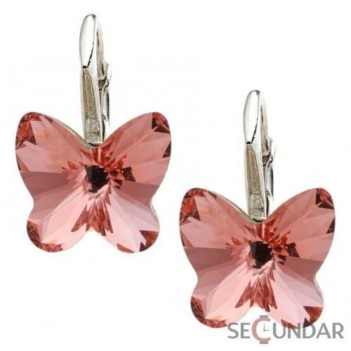 Cercei Argint 925 cu SWAROVSKI ELEMENTS Butterfly Fancy 10 mm Rose Peach