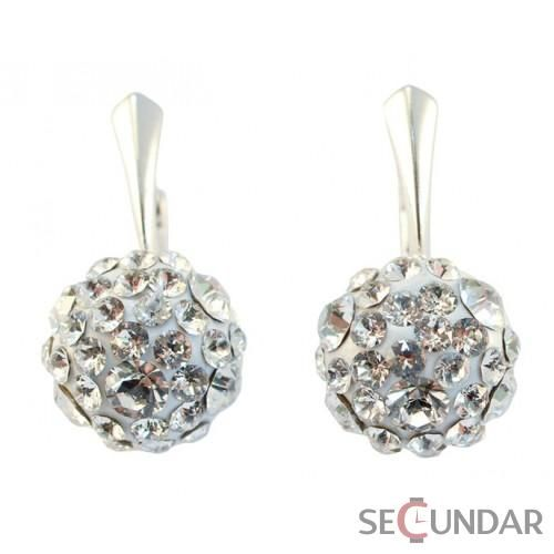 Cercei Argint 925 cu SWAROVSKI ELEMENTS Chaton Ball 12mm Crystal Clear