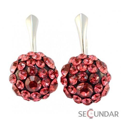 Cercei Argint 925 cu SWAROVSKI ELEMENTS Chaton Ball 12mm Indian Pink