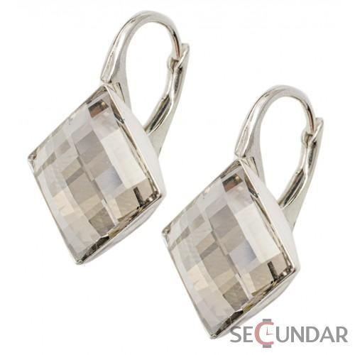 Cercei Argint 925 cu SWAROVSKI ELEMENTS Chessboard 10 mm Black Diamond