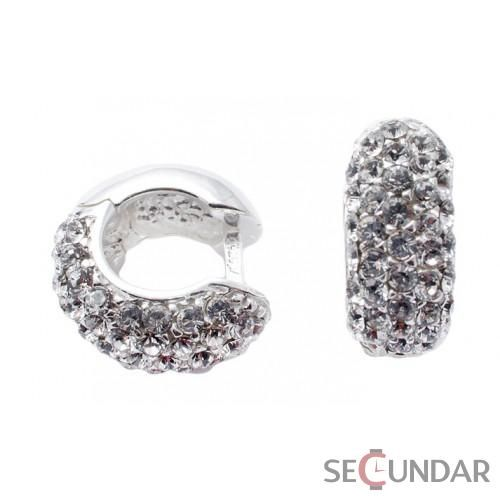Cercei Argint 925 cu SWAROVSKI ELEMENTS Circle Crystal Clear