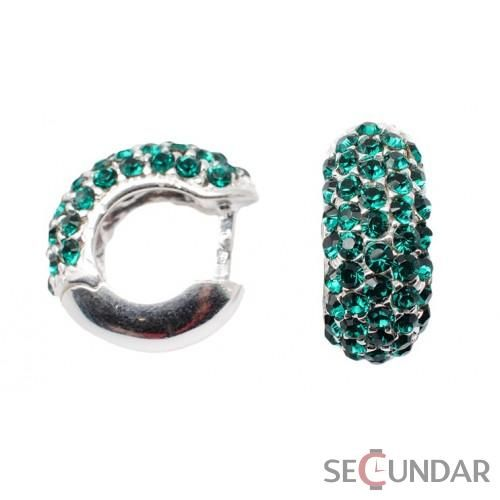 Cercei Argint 925 cu SWAROVSKI ELEMENTS Circle Emerald