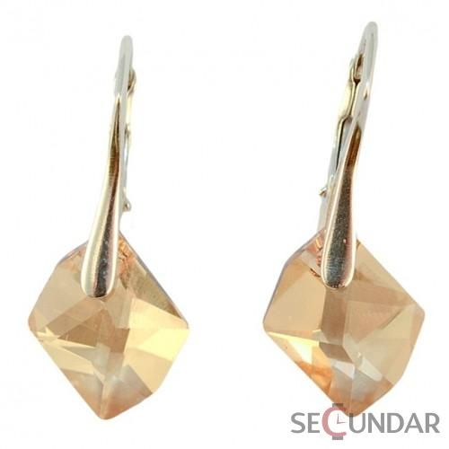 Cercei Argint 925 cu SWAROVSKI ELEMENTS Cosmic 14mm Golden Shadow