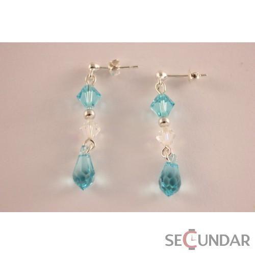 Cercei Argint 925 cu SWAROVSKI ELEMENTS Dual Bicone Drop Lt. Turquoise