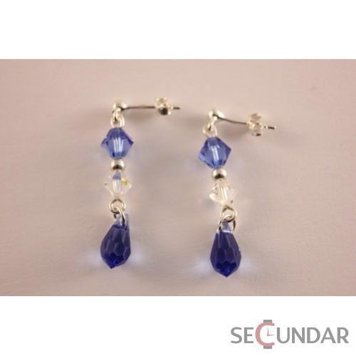 Cercei Argint 925 cu SWAROVSKI ELEMENTS Dual Bicone Drop Sapphire