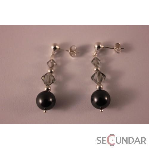 Cercei Argint 925 cu SWAROVSKI ELEMENTS Dual Bicone Pearl Black Pearl